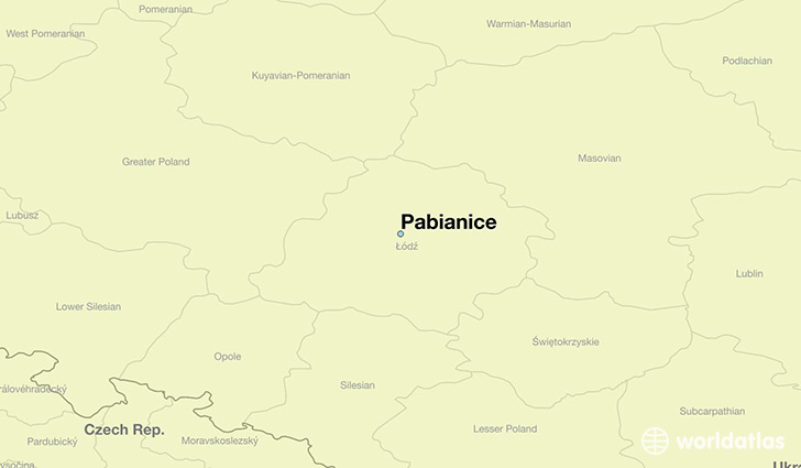 map showing the location of Pabianice