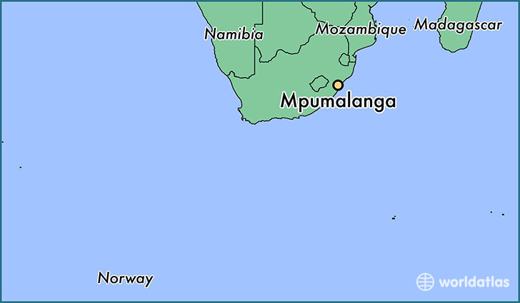 map showing the location of Mpumalanga