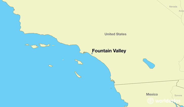 map showing the location of Fountain Valley