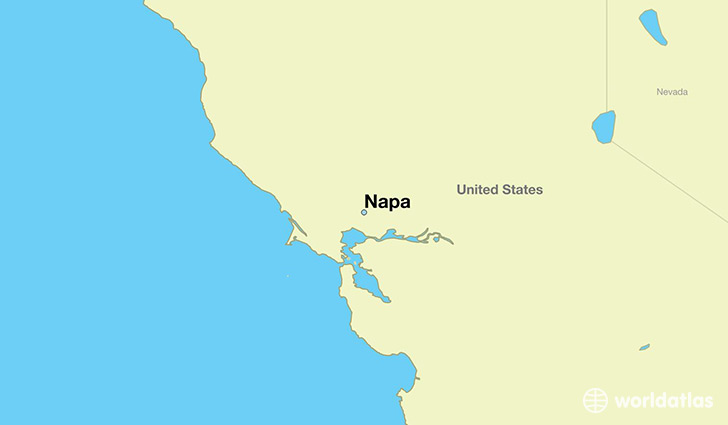 map showing the location of Napa