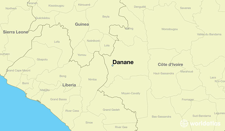 map showing the location of Danane