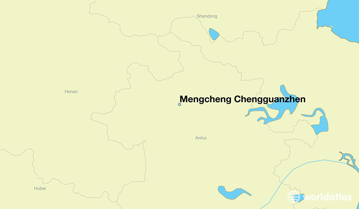 map showing the location of Mengcheng Chengguanzhen