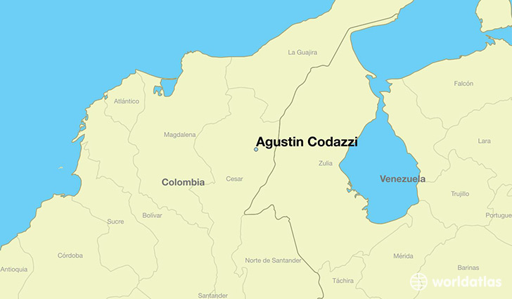 map showing the location of Agustin Codazzi