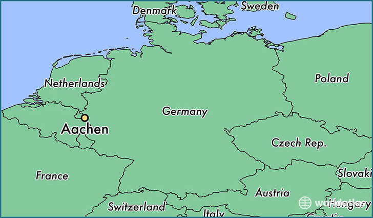 map showing the location of Aachen