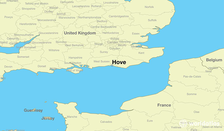 map showing the location of Hove