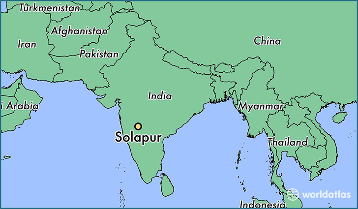 map showing the location of Solapur