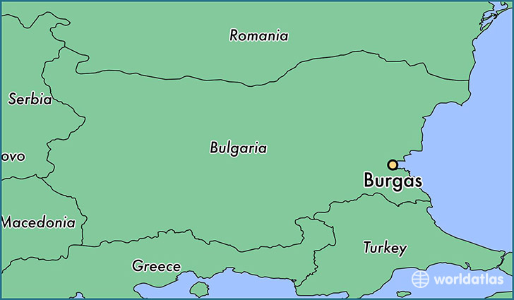 map showing the location of Burgas
