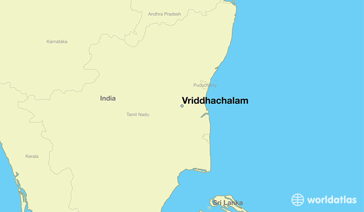 map showing the location of Vriddhachalam