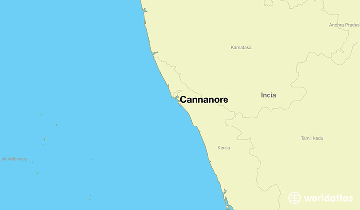 map showing the location of Cannanore
