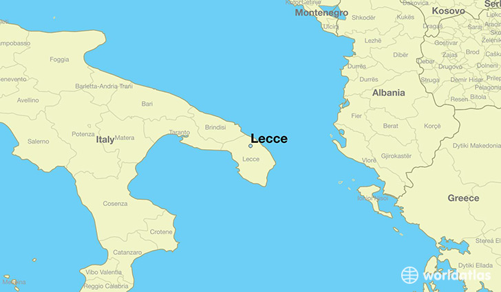 map showing the location of Lecce