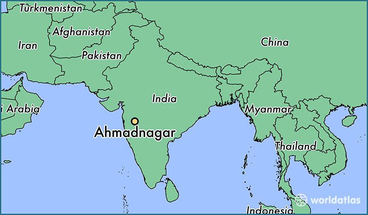 map showing the location of Ahmadnagar