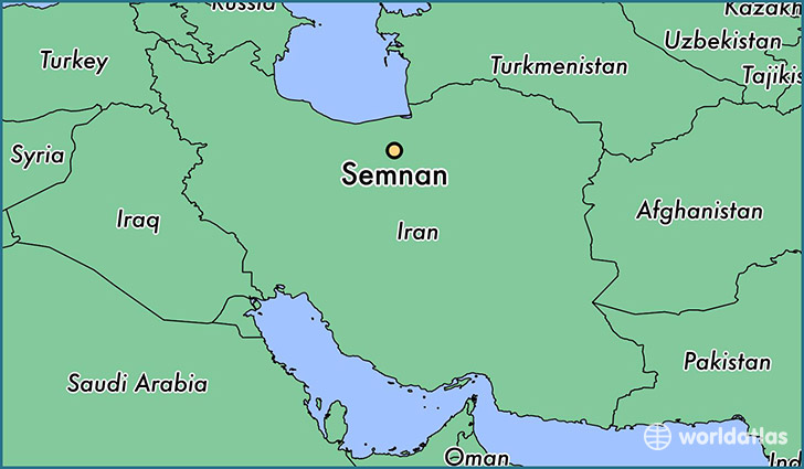 map showing the location of Semnan