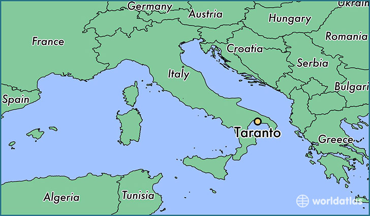 map showing the location of Taranto