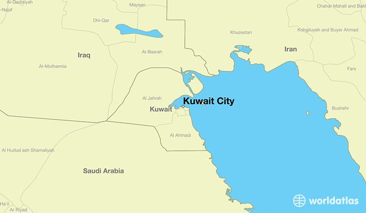map showing the location of Kuwait City