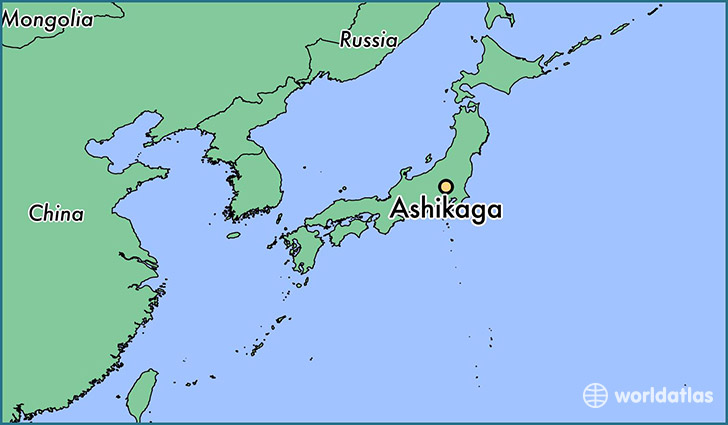 map showing the location of Ashikaga