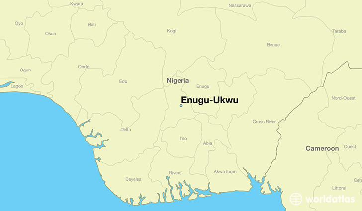 map showing the location of Enugu-Ukwu