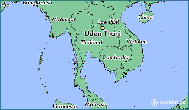map showing the location of Udon Thani