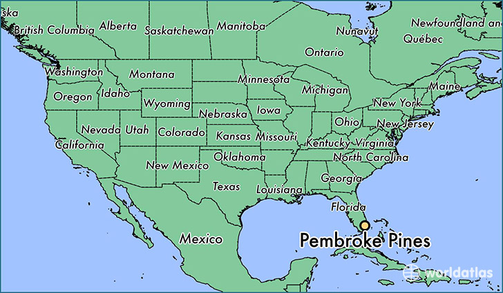 map showing the location of Pembroke Pines