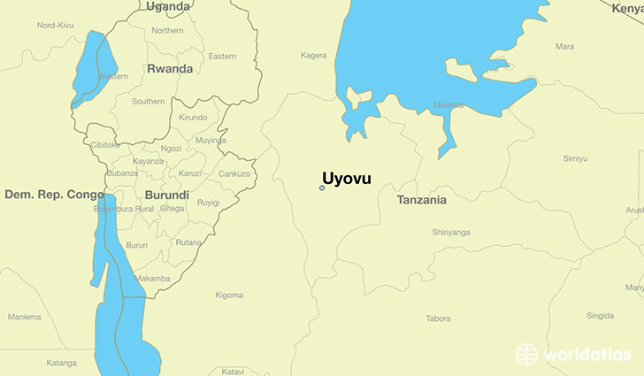 map showing the location of Uyovu