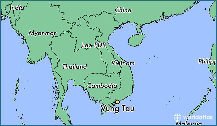 map showing the location of Vung Tau