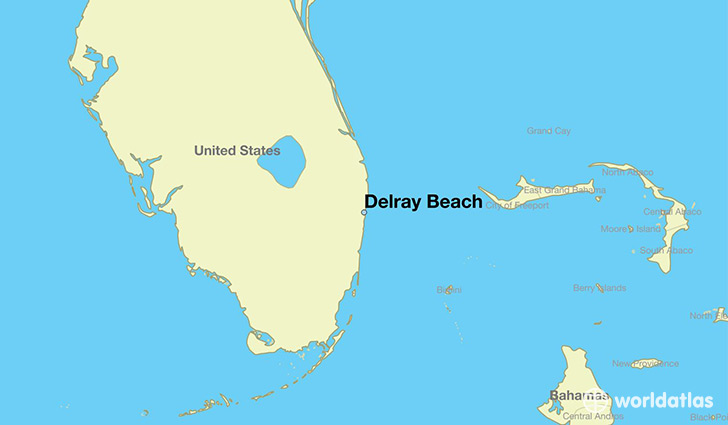 Map Showing The Location Of Delray Beach