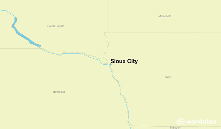 map showing the location of Sioux City