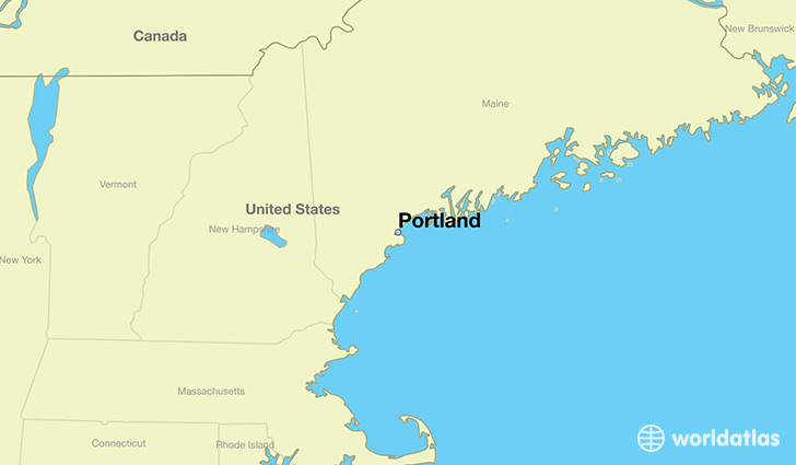 map showing the location of Portland