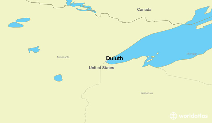 map showing the location of Duluth