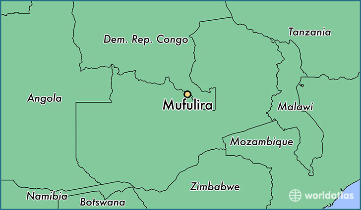 map showing the location of Mufulira
