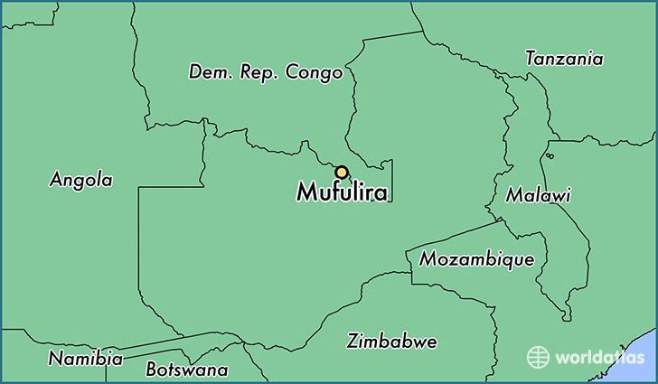 Where is Mufulira Zambia Mufulira Copperbelt Map WorldAtlascom