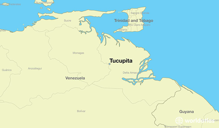 map showing the location of Tucupita
