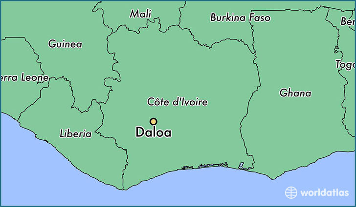map showing the location of Daloa