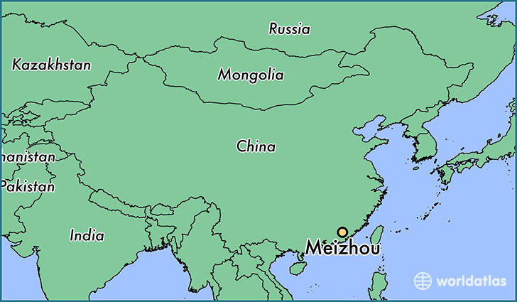 map showing the location of Meizhou