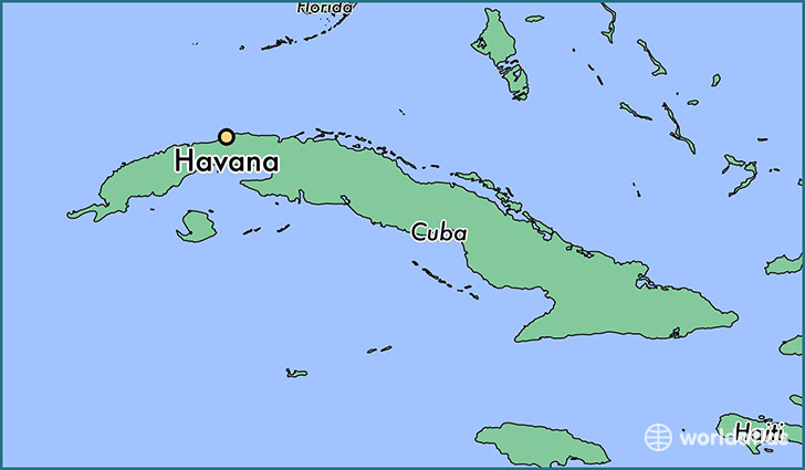 map showing the location of Havana