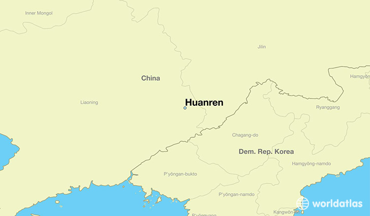 map showing the location of Huanren