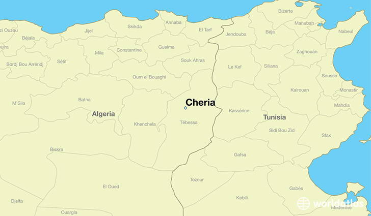 Where is Cheria Algeria Cheria Tebessa Map WorldAtlascom