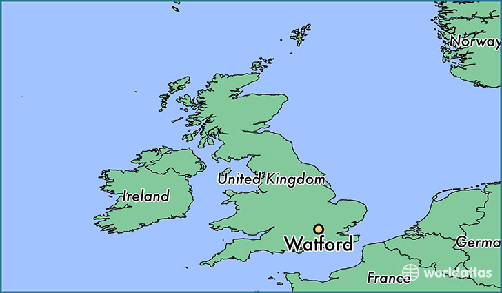 map showing the location of Watford