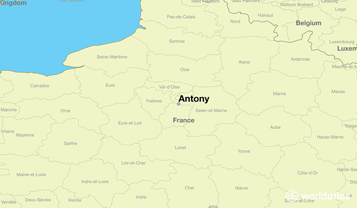 map showing the location of Antony