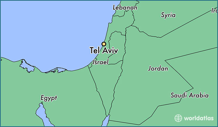 map showing the location of Tel Aviv