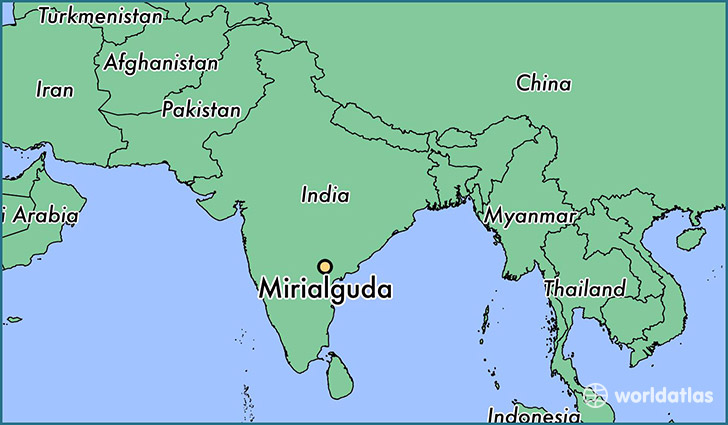 map showing the location of Mirialguda