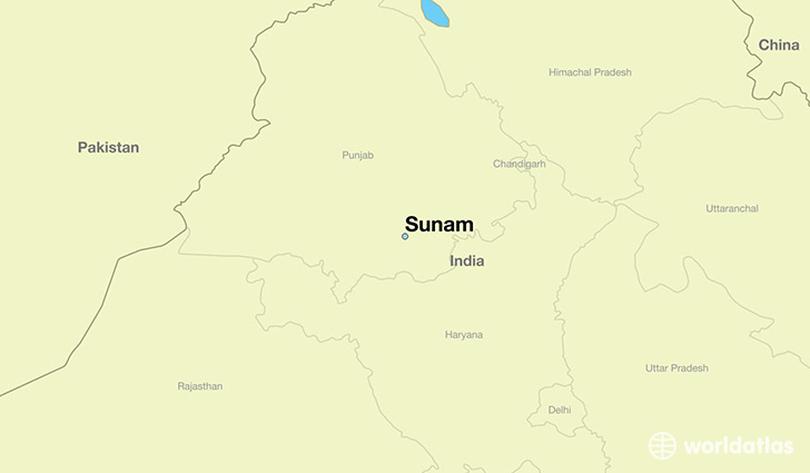map showing the location of Sunam