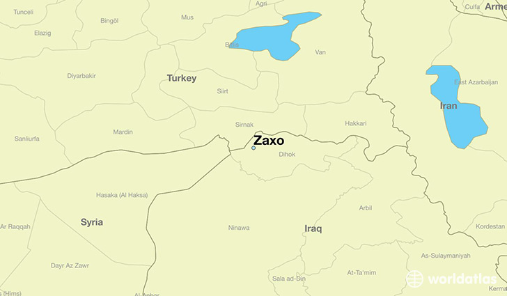 map showing the location of Zaxo