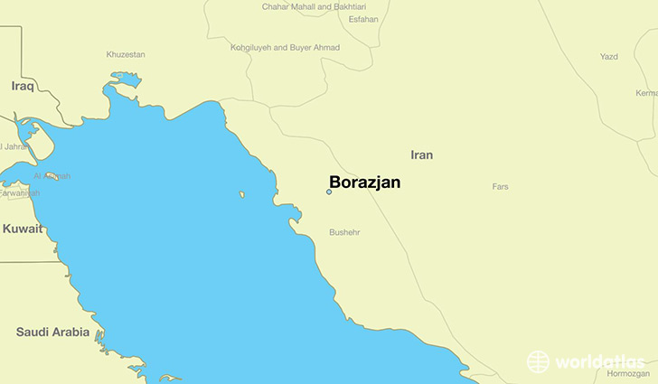 map showing the location of Borazjan
