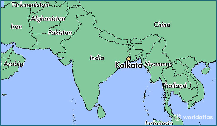 map showing the location of Kolkata