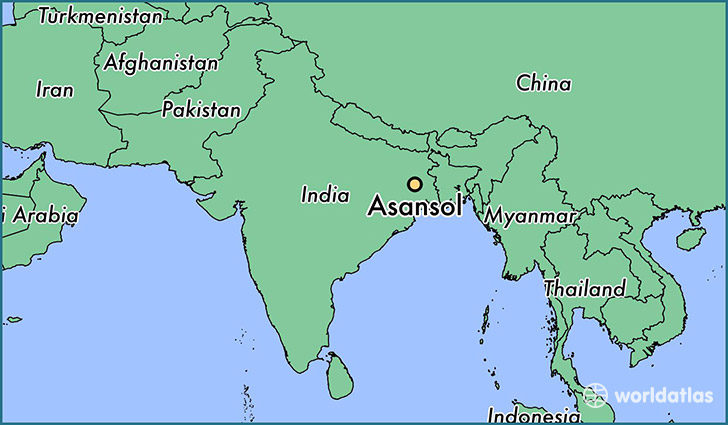 map showing the location of Asansol