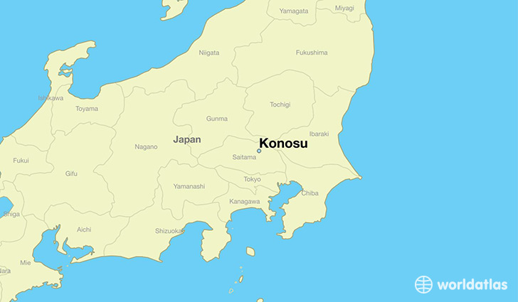map showing the location of Konosu
