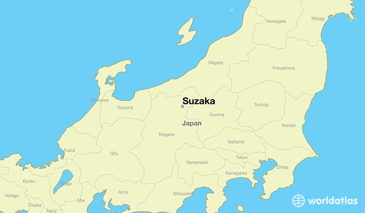 map showing the location of Suzaka