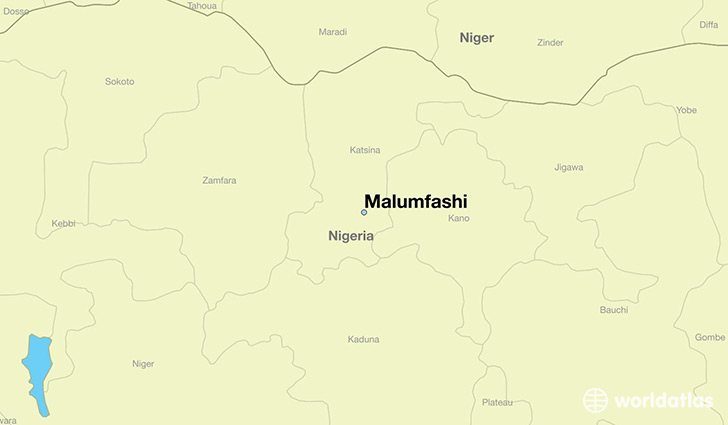 map showing the location of Malumfashi