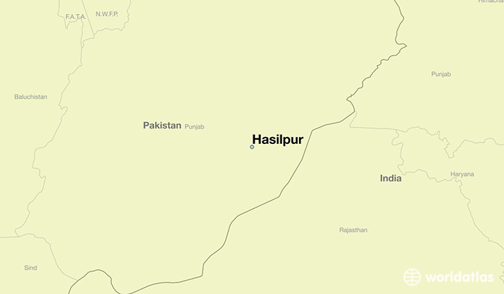 map showing the location of Hasilpur