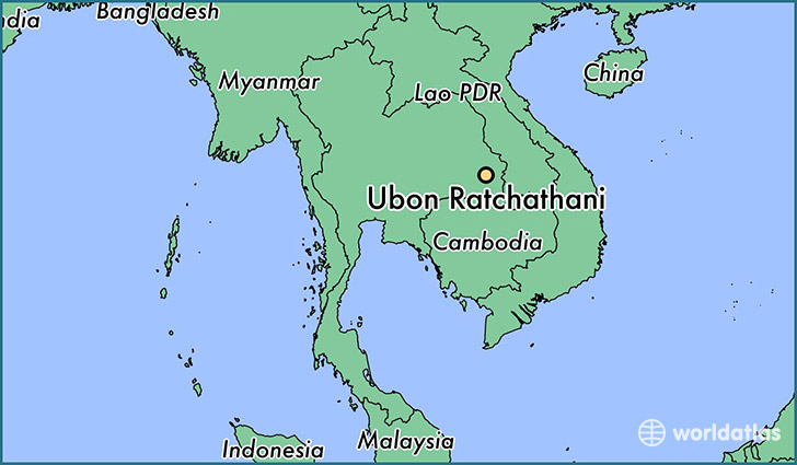 map showing the location of Ubon Ratchathani